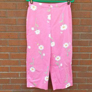 Alfred Dunner Pink Daisy Floral Capris Pants 10